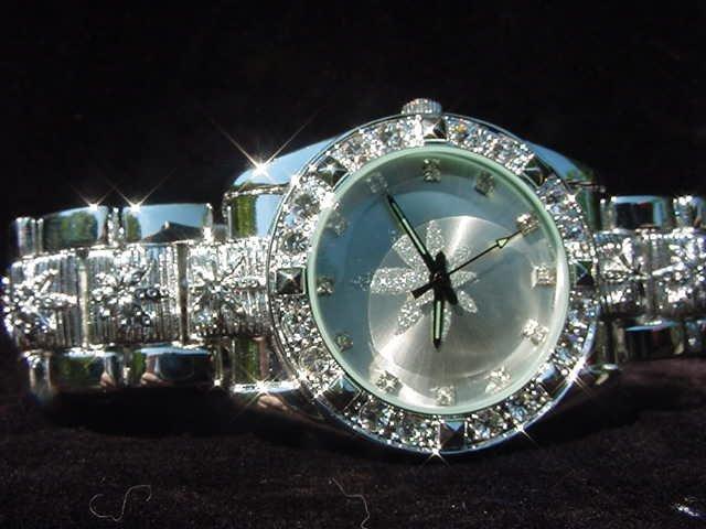 Paved Marijuana - silver background Watch