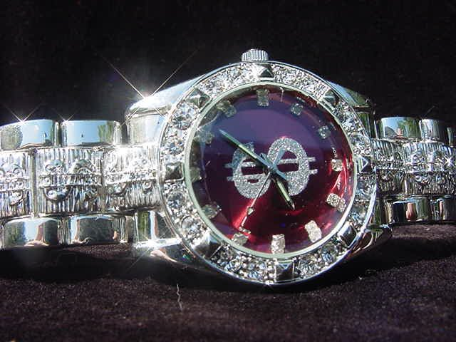 Paved Dollar Sign - red background Watch