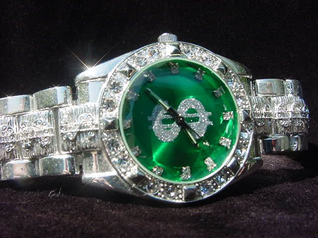 Paved Dollar Sign - green background Watch