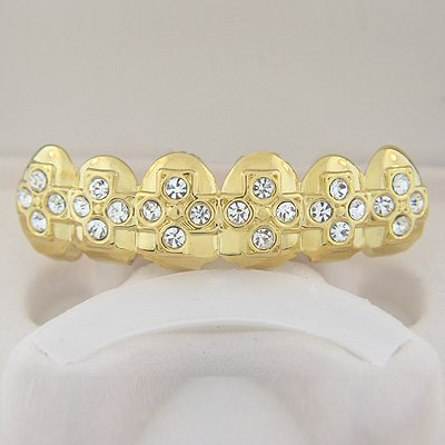 Cross of Bling Gold Plated Playa Grillz