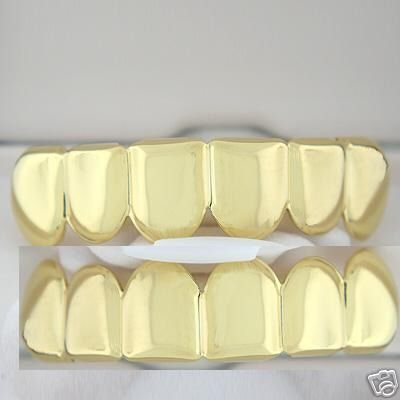 Golden-Style Player Top and Bottom Grillz Set