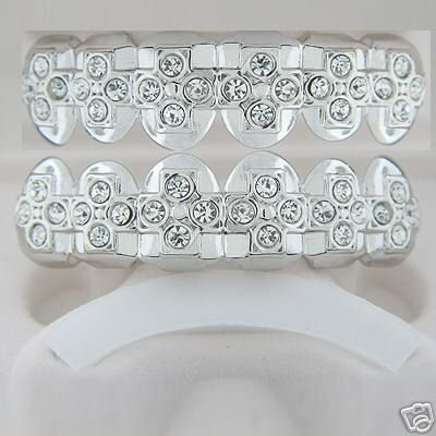 Cross of bling rhodium plated playa top and bottom grillz set