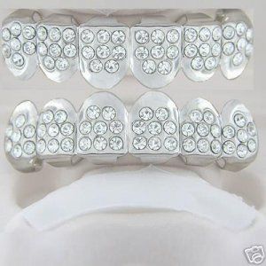 Forty-eight points of ice rhodium plated playa top and bottom grillz set