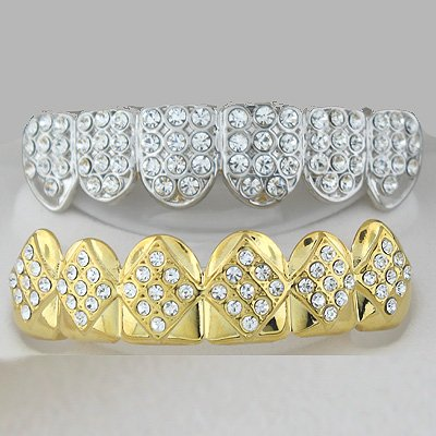 Fullness & Fifty Four Points Of Golden & Rhodium Ice Top & Bottom Grillz Combo