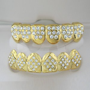 Fifty Four & Fourty Eight Points Of Golden Ice Top & Bottom Grillz Combo