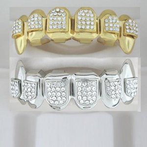 Ninety-Four points of ice Dracula style rhodium and golden playa grillz top and bottom combo