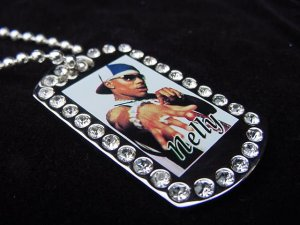 Iced out Nelly dog tag pendant with 36 inch chain