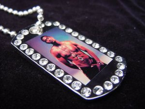 Iced out Usher dog tag pendant with 36 inch chain