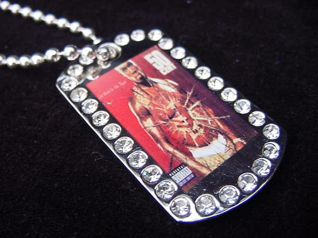 Iced out 50 CENT dog tag pendant with 36 inch chain