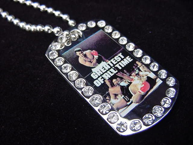 Iced out Mohammed Ali dog tag pendant with 36 inch chain