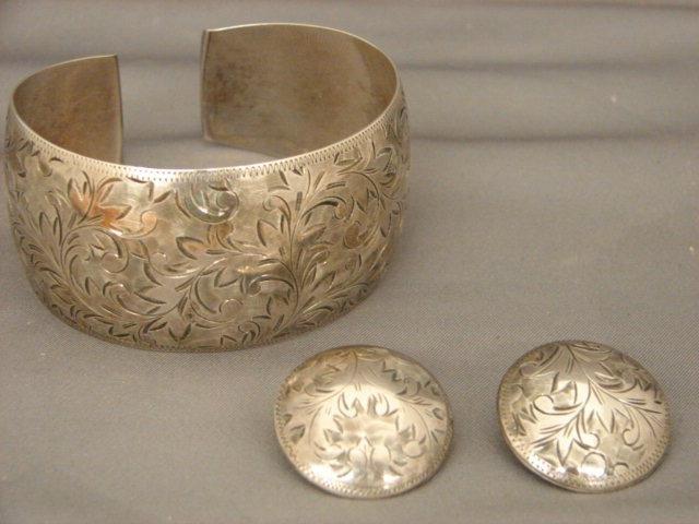 Wide Engraved Sterling Silver Cuff Bracelet & Matching Earrings