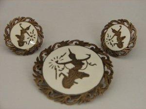 Siam Silver White Enameled Pin & Earrings Set