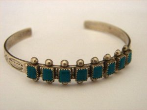 Child's Sterling Silver Native American Turquoise Cuff