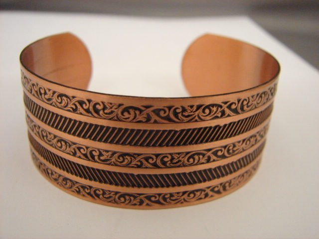 Fabulous Vintage engraved Copper Cuff Bracelet