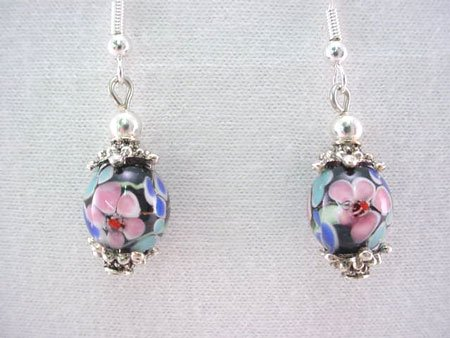 Floral Art Glass Bead and silver earrings