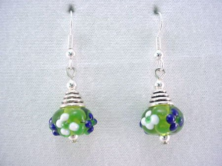 Green art glass bead and silver earrings