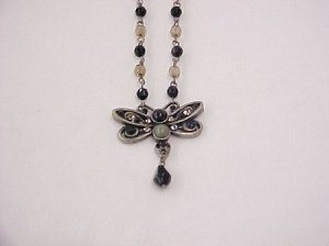 Black butterfly beaded necklace