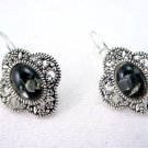 molten,bubbleglass, marcasite earrings