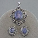 Marcasite, rhinestone pendant and earring set. Lapis type stones