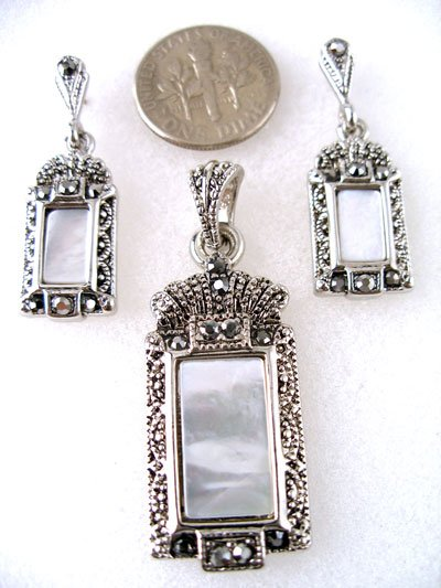 Elegant,rectangular,marcasite,mother of pearl pendant set
