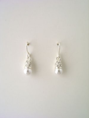 Silver rhinestoned capped faux pearl earrings