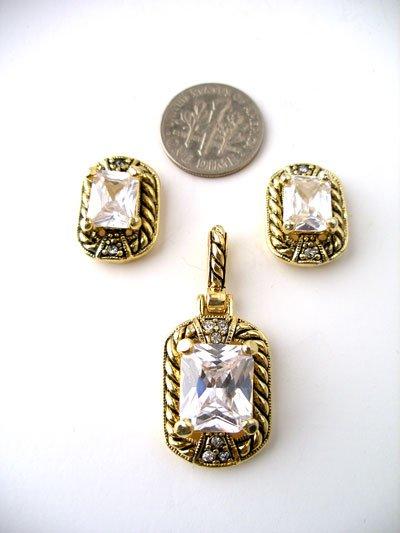 Cubic Zirconia Pendant and Earring Set