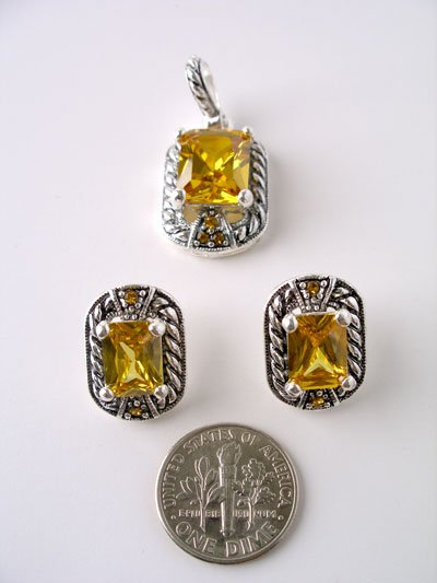 Citrine Cubic Zirconia Pendant and Earring Set