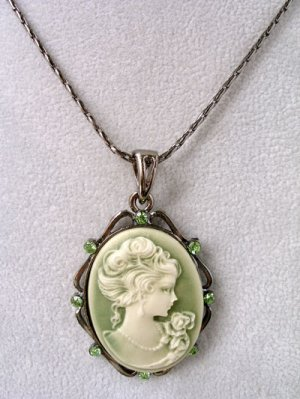 Sage Green Cameo Necklace