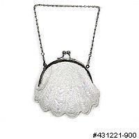 White satin, beaded vintage look handbag