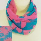 Tropical Teal Scarf with Pink Flowers