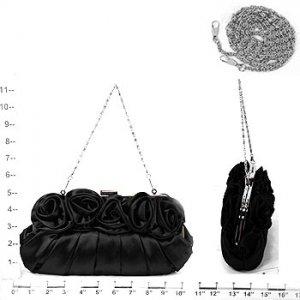 Black Satin Roses Clutch Evening Bag