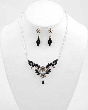 Black Austrian Crystal Leaf,Floral Necklace and Earring Set