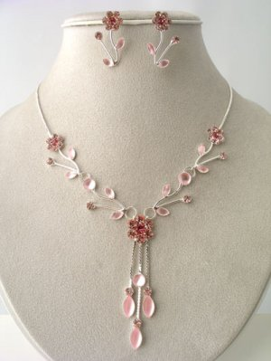 Pink Austrian Crystal Floral Leaf Drop Necklace, Earring Set