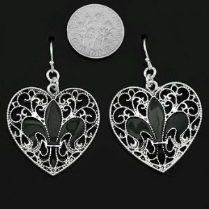 Antiqued Filigree Fleur de Lis Heart Earrings
