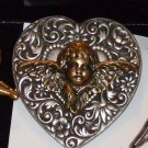 Large Filigree Heart with Angel  Pin