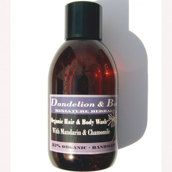 Organic hair and body wash with mandarin and chamomile