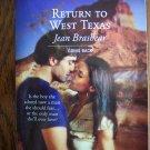 Return To West Texas Jean Brashear April 07 1413 Harlequin Superromance  Romance Novel