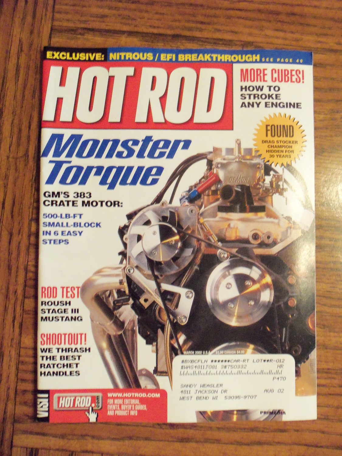 Hot Rod March 2002 Monster Torque Gm's 383 Crate Motor Back Issue Magazine 1M