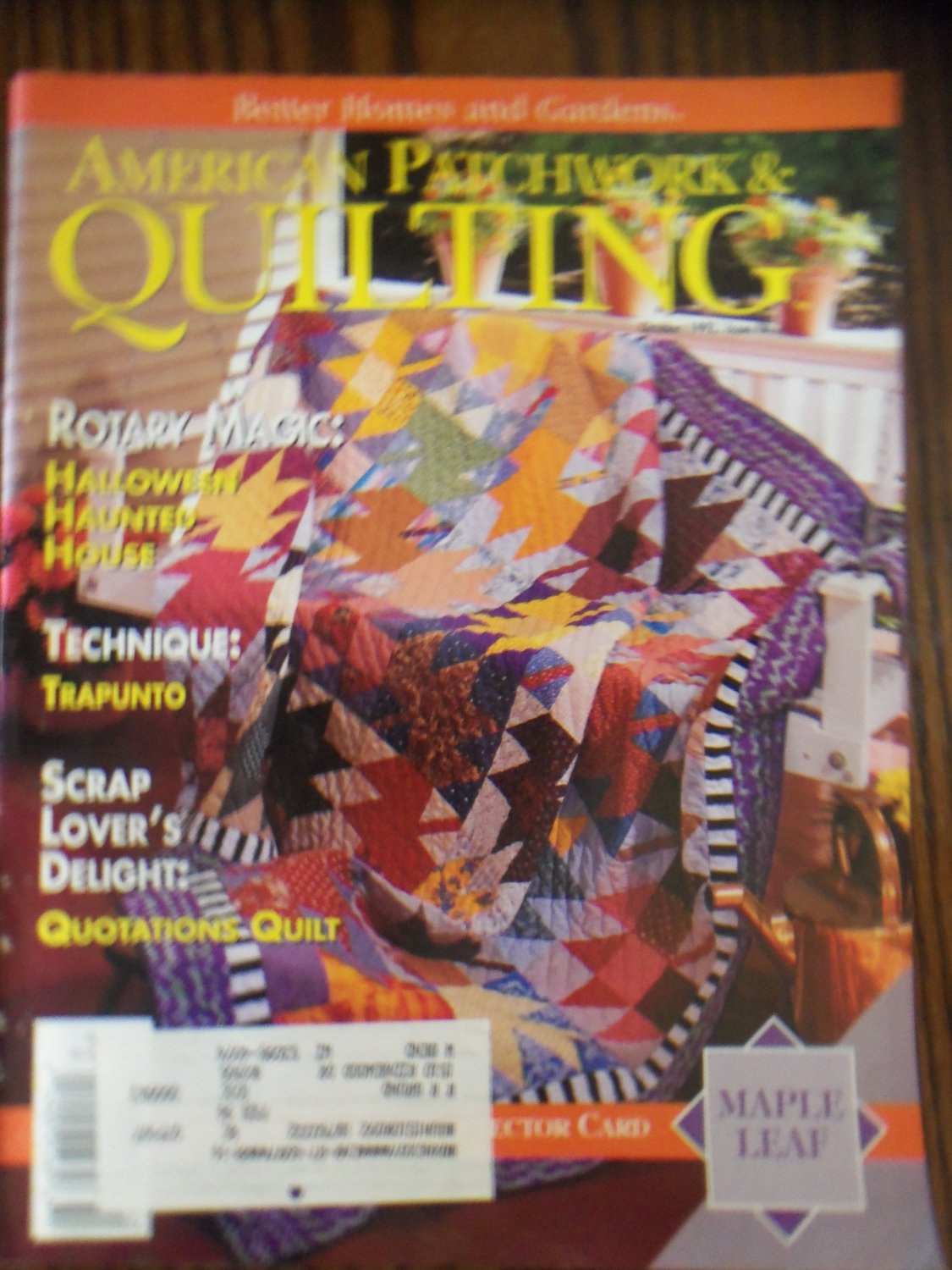 American Patchwork Quilting October 1993 Issue 4 Back