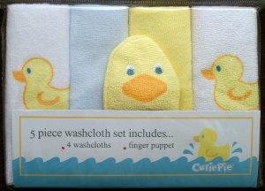 *CUTIE PIE* 5pc *DUCKIE* Washcloth Set - GREAT GIFT!! Boy/Girl