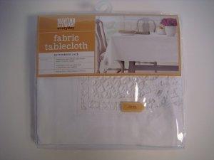 Martha Stewart Fabric Oblong Tablecloth Battenberg Lace