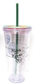 Starbucks 20 Ounce Clear Insulated Venti Tumbler Hawaii Exclusive