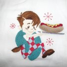 Embroidered Retro Big Boy Hot Dog Dish Kitchen Towel