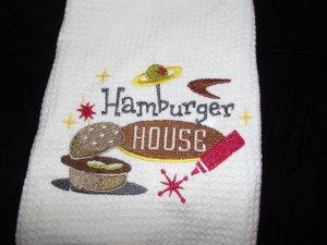 Embroidered Retro Hamburgers House Dish Kitchen Towel