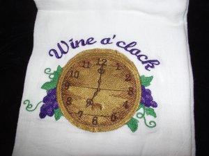 Wine O'Clock Dish Kitchen Towel Embroidery