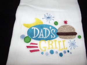 Embroidered Retro Dad's Grill Dish Kitchen Towel