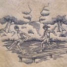 Set of Embroidered Bath Towels Beach Toile Scene