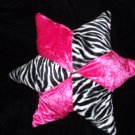 Zebra Print Hot Pink 5 Point Star Decorative Pillow