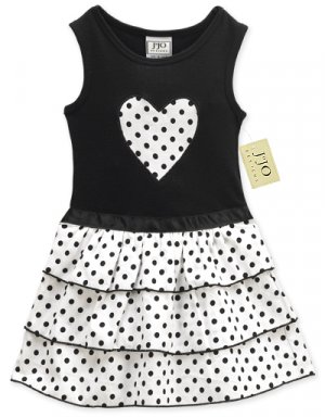 Black and White Dot Ruffle Dress 3-6 month