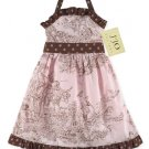 Chocolate and Pink French Toile Halter Dress- 3-6 month